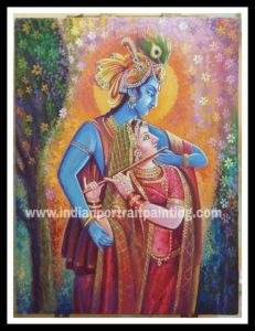 Radha Kishan playing will flute paintings