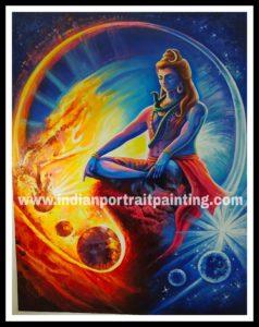 Hand painted Shiva neon oil paint paintings