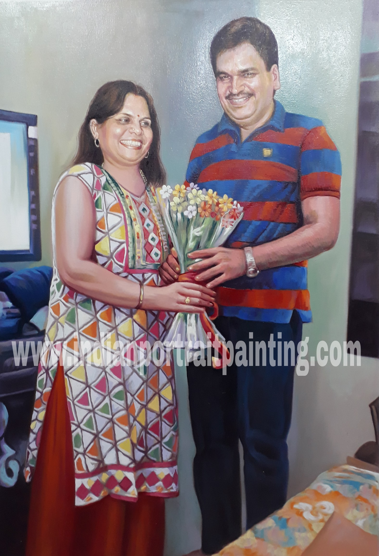 hand painted portraits from photos for gift