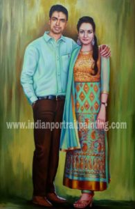 Customized canvas portrait painting for couples