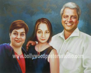 custom family oil canvas portrait painting
