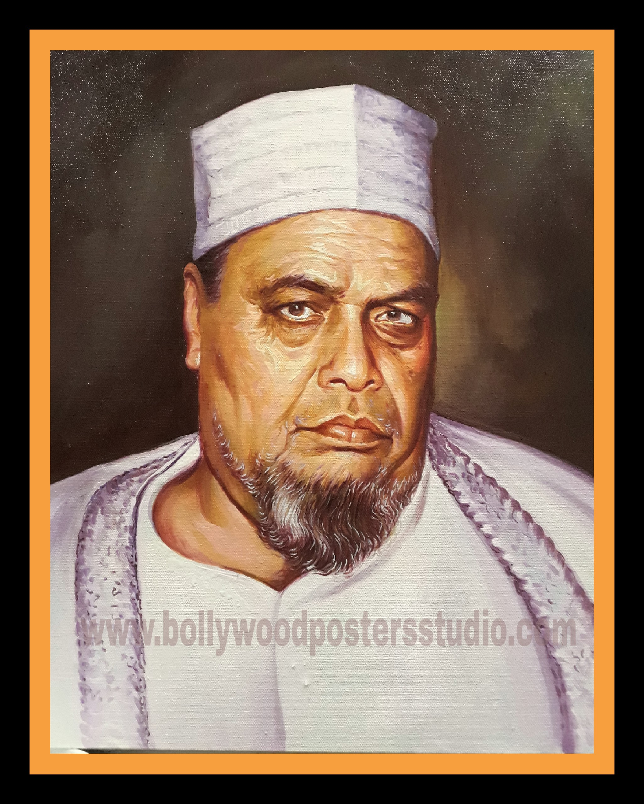 indian oil on canvas portrait painting