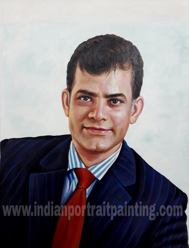 Oil portrait paintings on canvas by indian artists
