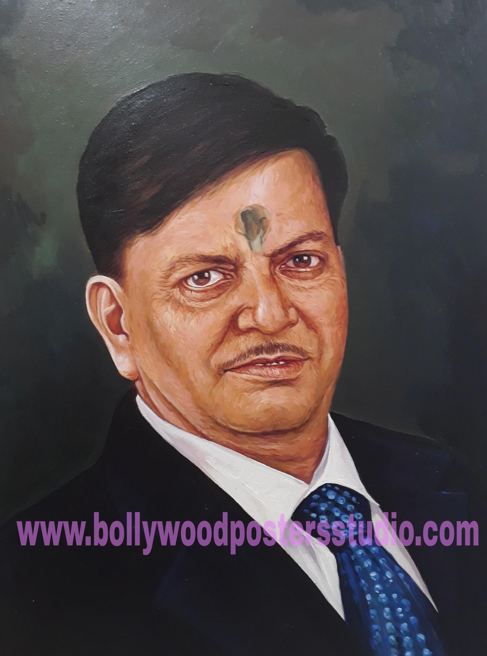 Indian oil canvas portrait