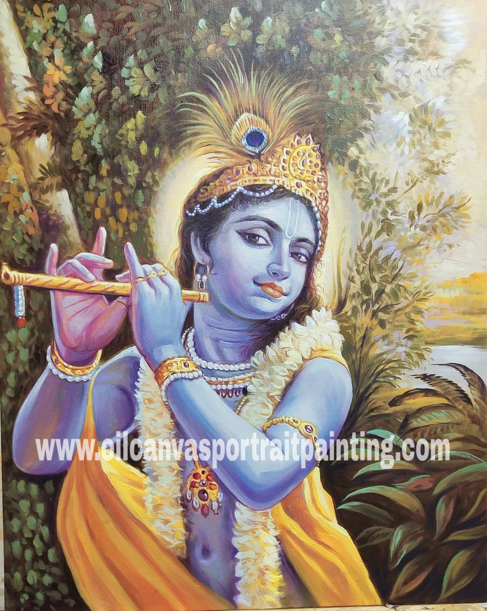 Krishna playing flute canvas paintings