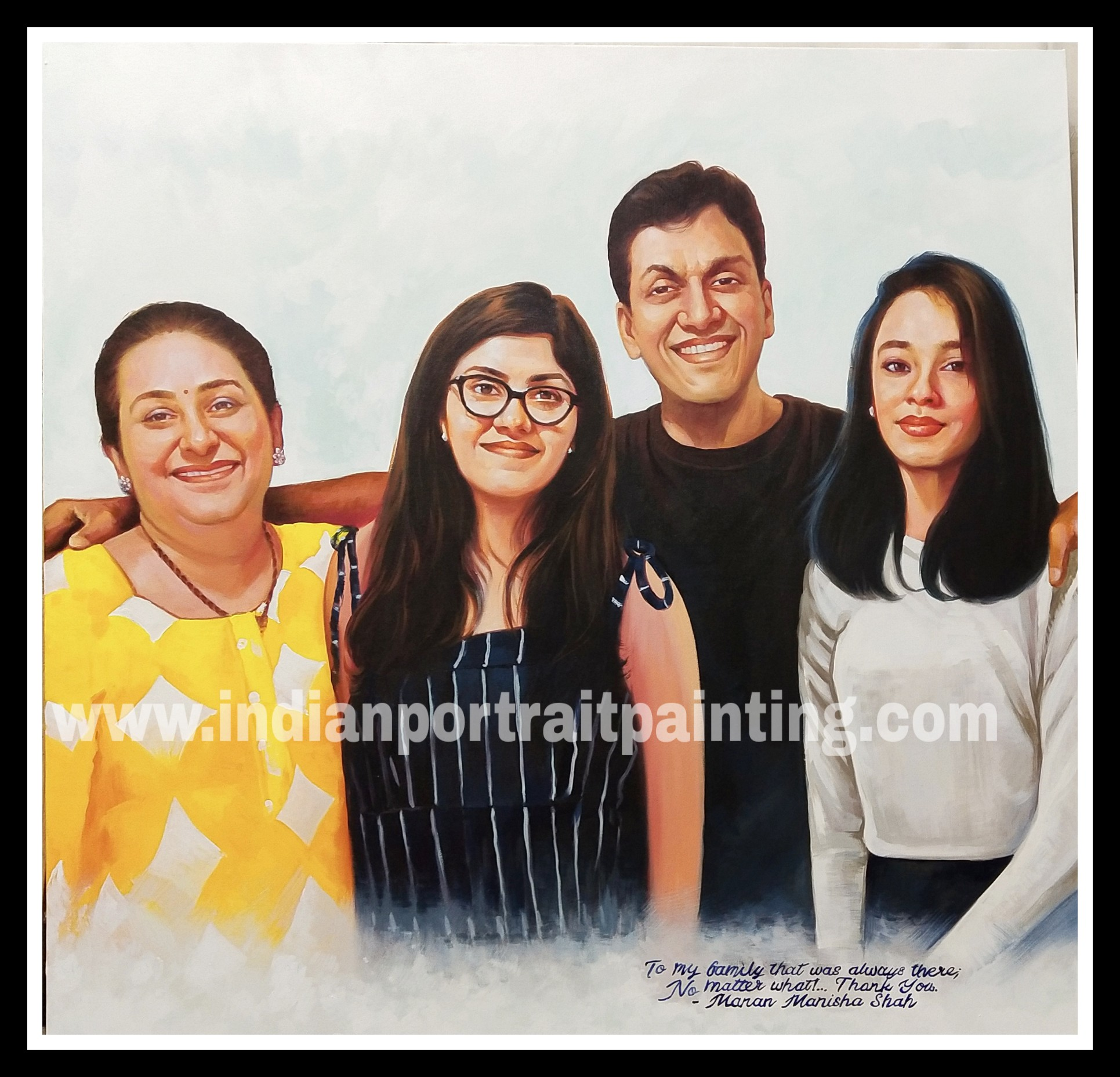 Canvas oil portrait painting for families