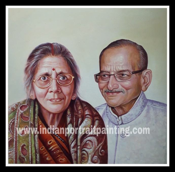 Original custom oil portrait for grandparents
