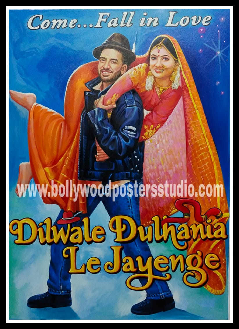 Film poster painting for wedding
