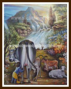 Oil on canvas krishna & gau mata painting