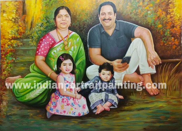 Custom oil portrait for family