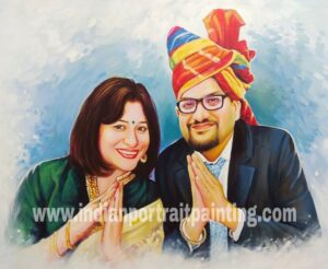 Indian traditional oil canvas portrait gift