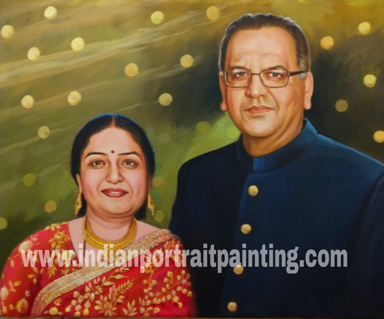 Perfect wedding anniversary gift for parents-in-laws - oil portrait painting