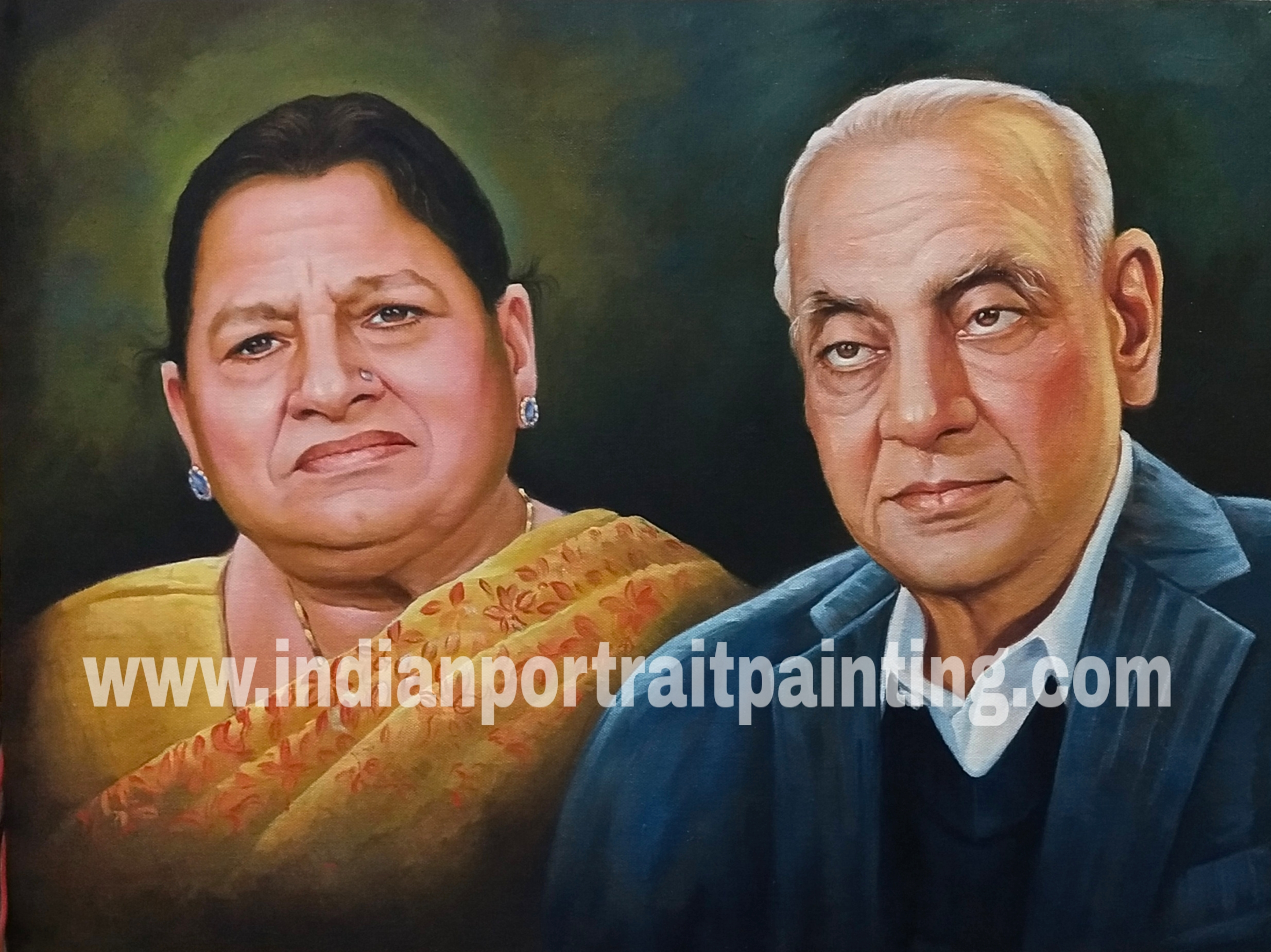 Photo to oil portrait painting on canvas - memory of grand parents